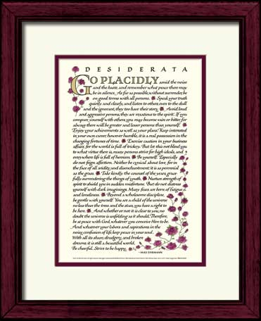 Desiderata Com Desiderata Calligraphy Print 11x14 Framed