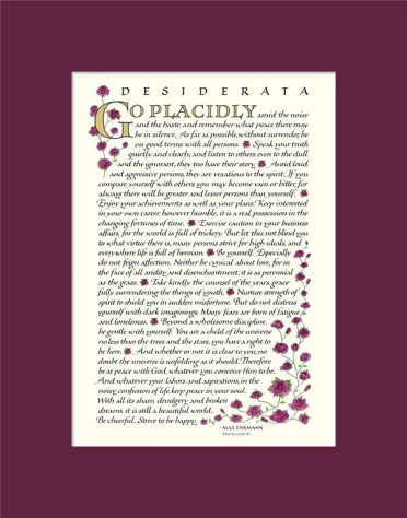 image relating to Man in the Arena Free Printable referred to as Desiderata Authentic Terms